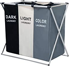 NiceVue 3/2 Sections Laundry Basket Printed Dark Light Color, Foldable Laundry Hamper/Sorter with Waterproof Oxford Bags a...