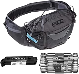 Evoc Hip Pack Pro Hydration Bag 3L with 1.5L Bladder, M19 Multi Tool, and Lifestyle by Focus Tire Levers Bundle (Black/Carbon Grey) | Breathable with Wide Straps for Comfortable Extended MTB Bike Ride