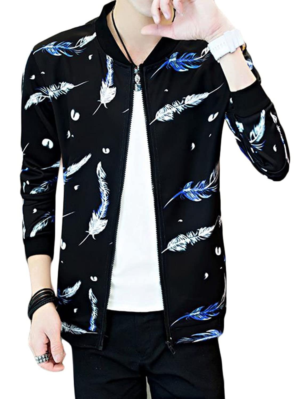 AOZUO メンズ ジャケット ジャンパー 薄手 ブルゾン 長袖コート フライトジャケット ジャンパー MA-1 花柄 野球服 流行れ スリム ストリート系 アウター 男 ジップアップ ジャケット