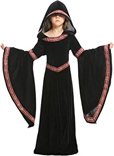 Kids Girls Womens Medieval Renaissance Dress Costume Halloween Vampire Cosplay Hooded Robe Gown 4-12T