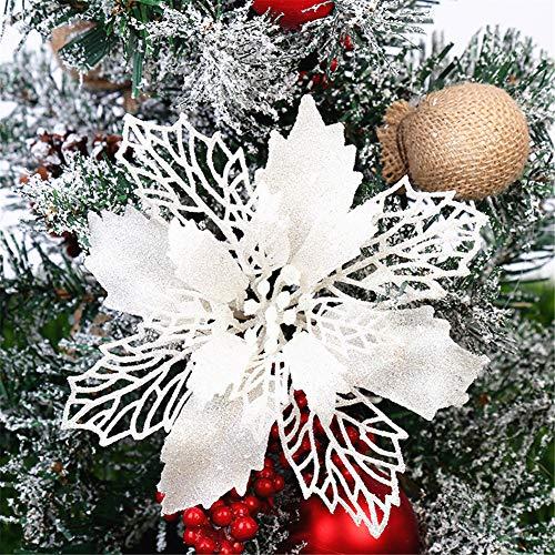 GLITZFAS 12 Stück Glitter Weihnachtsbaum Dekoration, Weihnachtsbaumschmuck Ornament Weihnachten Blumen Dekor, Christbaumanhänger (Weiß,9 cm)