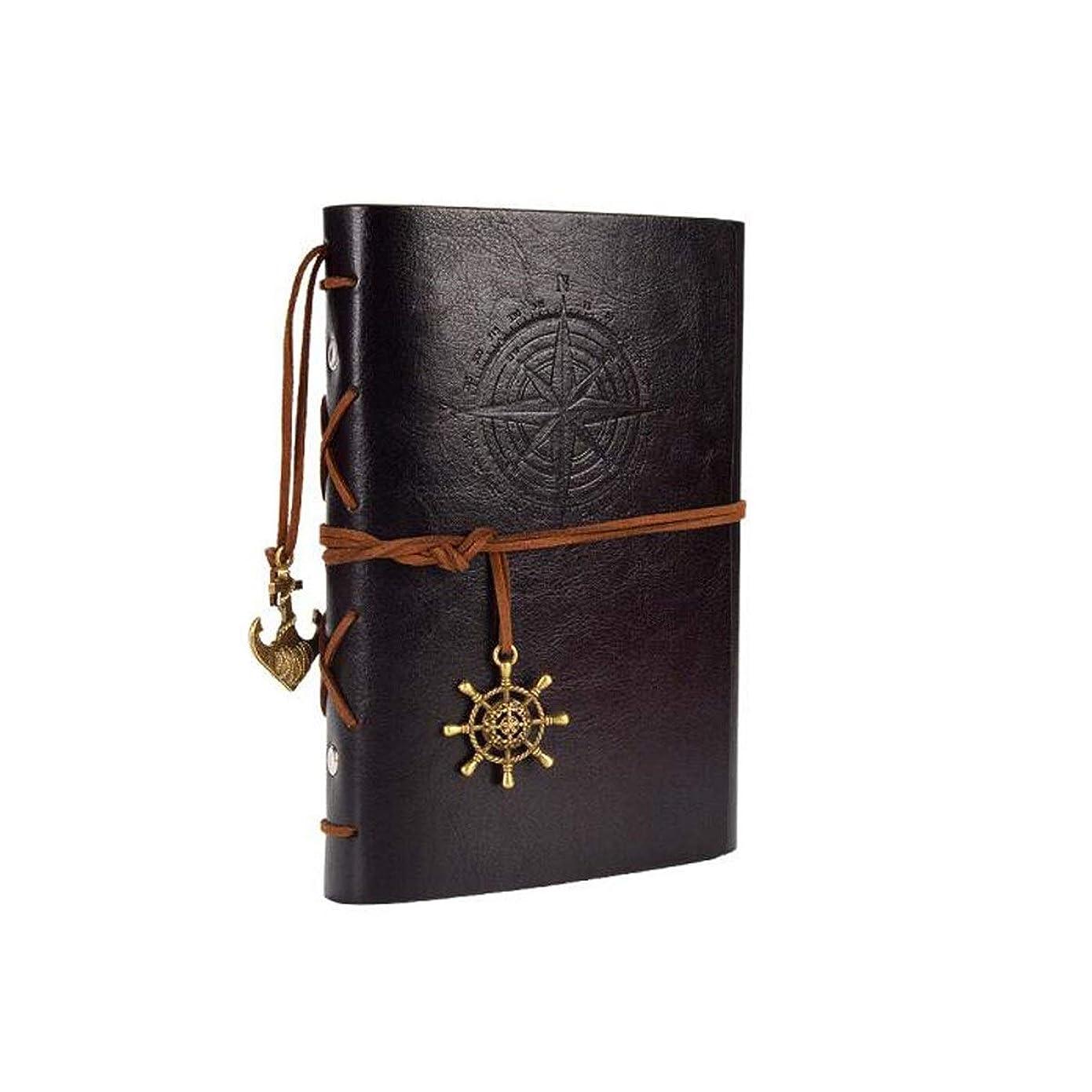 XIONGHAIZI A6ノートの文房具、海賊のレトロな本、旅行日記、クリエイティブDIYルーズリーフノート、黒、赤、青、茶色の4つ、空白のインナーコア (Color : Black)