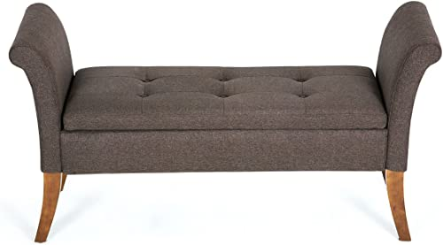 Belleze Modern Storage Bench Seat Cushion Settee Living Room Cushion Top with Armrest Button Tufted Wood Legs, Brown