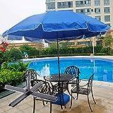 ZAZAP-1 Sombrilla de Jardín Al Aire Libre 7,9 Pies / 2,4 M, Sombrilla Azul con Base Cruzada, Paño de Protección UV, Sombrilla de Playa Ajustable en Altura y 8 Varillas de Tensión (Size : 3m/9.8ft)