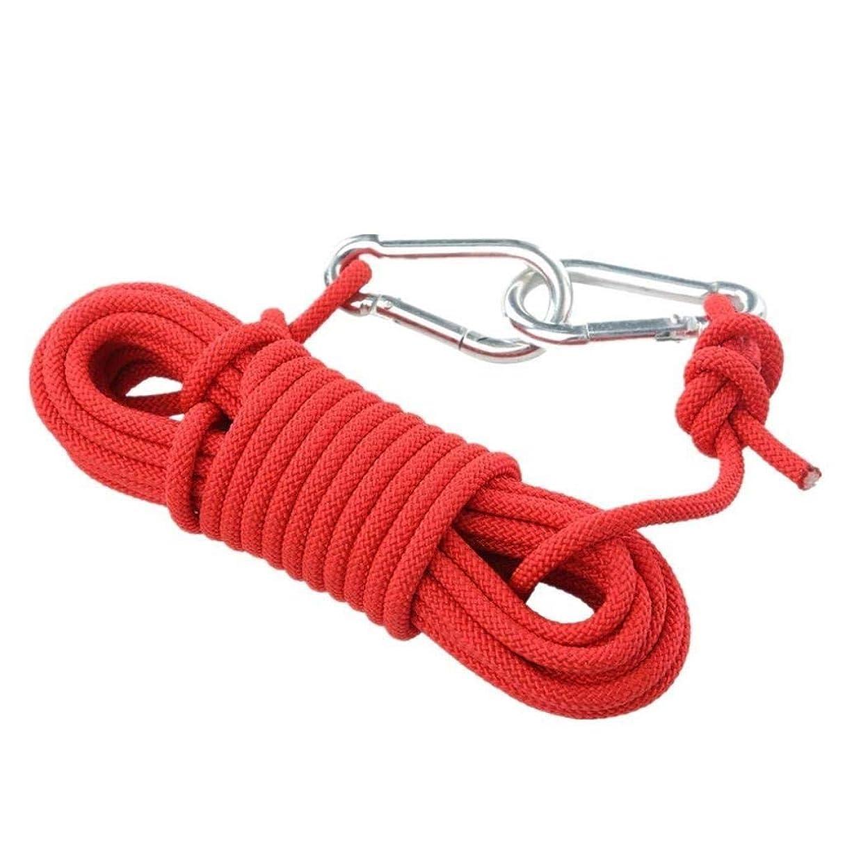 掘る思われるバンガロー登山ロープの家の火の緊急脱出ロープ、ハイキングの洞窟探検のキャンプの救助調査および工学保護のための多機能のコードの安全ロープ。 (Color : 赤, Size : 15m)