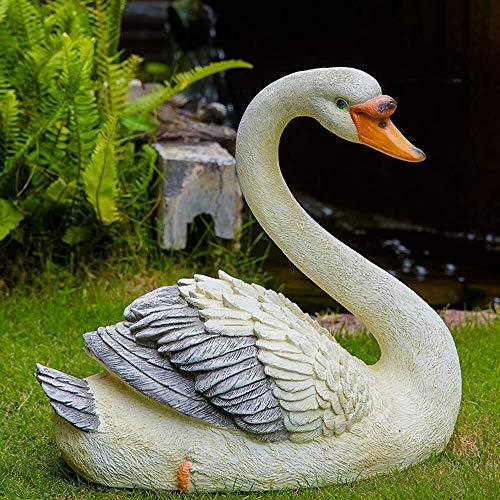 Sculpture Garden Ornaments Simulation Swan Sculpture Waterproof Resin Garden Statue For Yard Landscape Lawn Decoration Crafts Gift (Color : A:40 * 25 * 39cm)