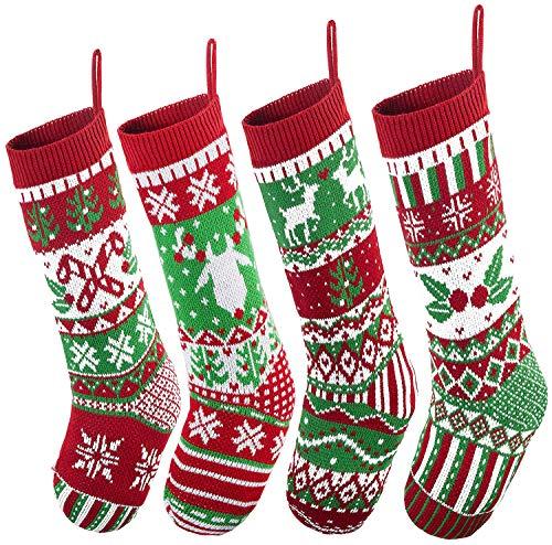 JOYIN 4 Pack 45.7cm Gestrickte, große rustikale Zopfmuster Nikolausstrumpf-Nikolausstiefel für für Weihnachten Familien Feiertagsdekorationen Weihnachtsbaum
