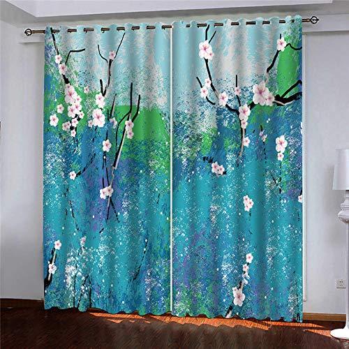 DRFQSK Cortinas Infantiles Impresión Digital Arte Azul Ciruela 3D Cortinas Opacas Termicas Aislantes Cortinas Dormitorio Moderno con Ollaos, 2 Paneles 300 X 270 Cm(An X Al)