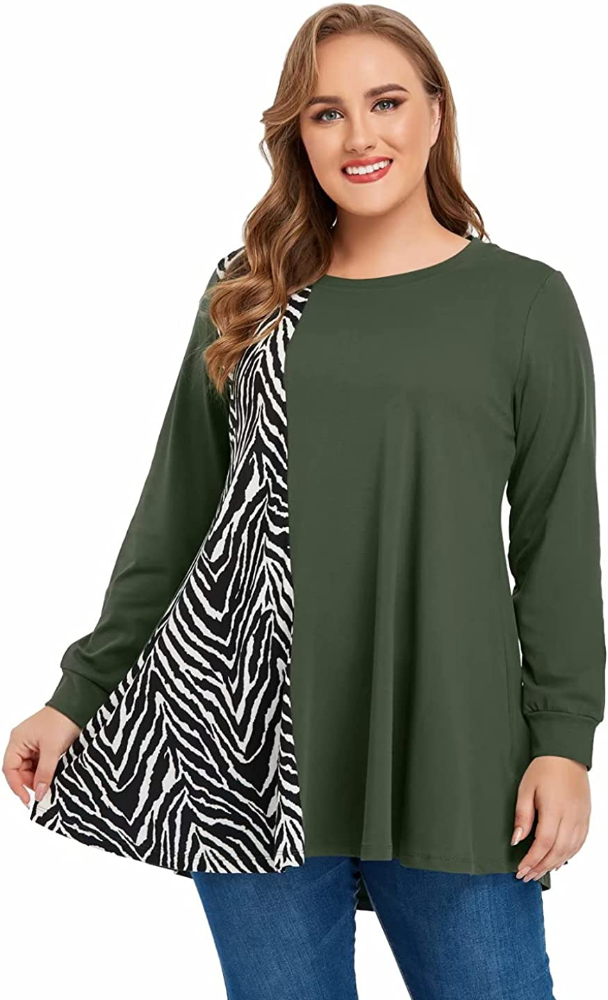 JollieLovin Plus Size Sweatshirts for Womens Long Sleeve Tops Animal Print Pullover Patchwork Tunic Lightweight Fall Clothes