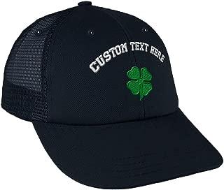 Custom Snapback Baseball Cap Four Leaf Clover Embroidery Design Cotton Mesh Hat