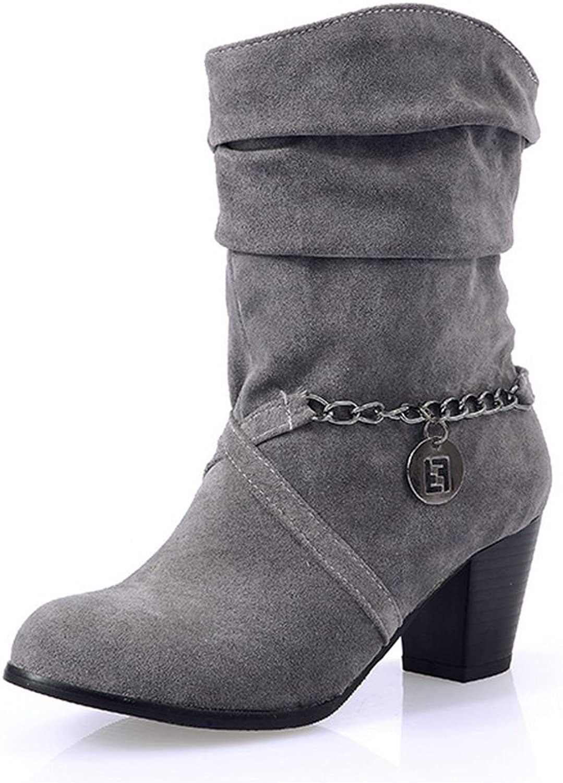 BalaMasa Ladies Metal Ornament Pull-On Kitten-Heels Xi Shi Velvet Boots