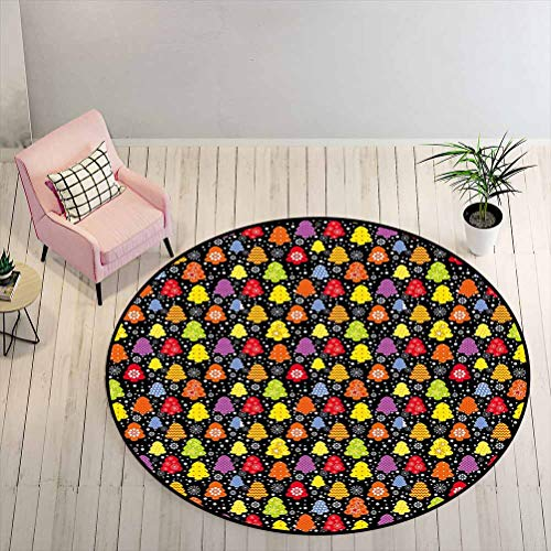 Outdoor Patio Rug 6 ft Round - Tree Coffee Table Rug Colorful Nature Winter Season Inspirations Snowflakes December Christmas Theme Print, Multicolor