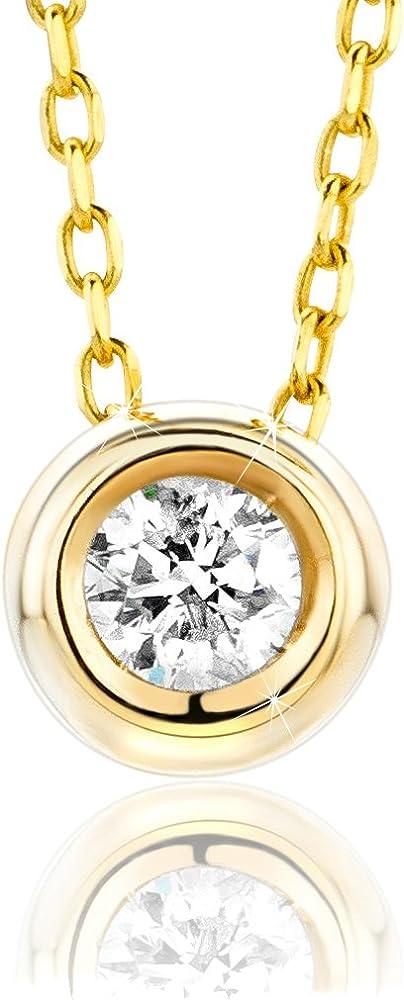 Orovi, collana per donna,in oro giallo 9 kt(1,15 gr),con cinodolo,con diamante taglio brillante ct 0.10 OR72320N