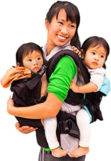 TwinGo Original Baby Carrier- Separates to 2 Single Carriers. Compact, Comfortable, 100% Cotton, and Adjustable. for Men, Women, Twins and Children Between 10-lbs and 45 lbs. (Black, Orange, Blue)
