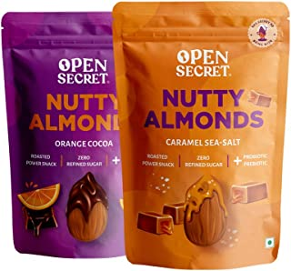 Open Secret Nutty Almonds Combo - 1 pack Caramel Sea Salt + 1 pack Orange Cocoa   No Refined Sugar,No Oil   Dry Roasted Po...