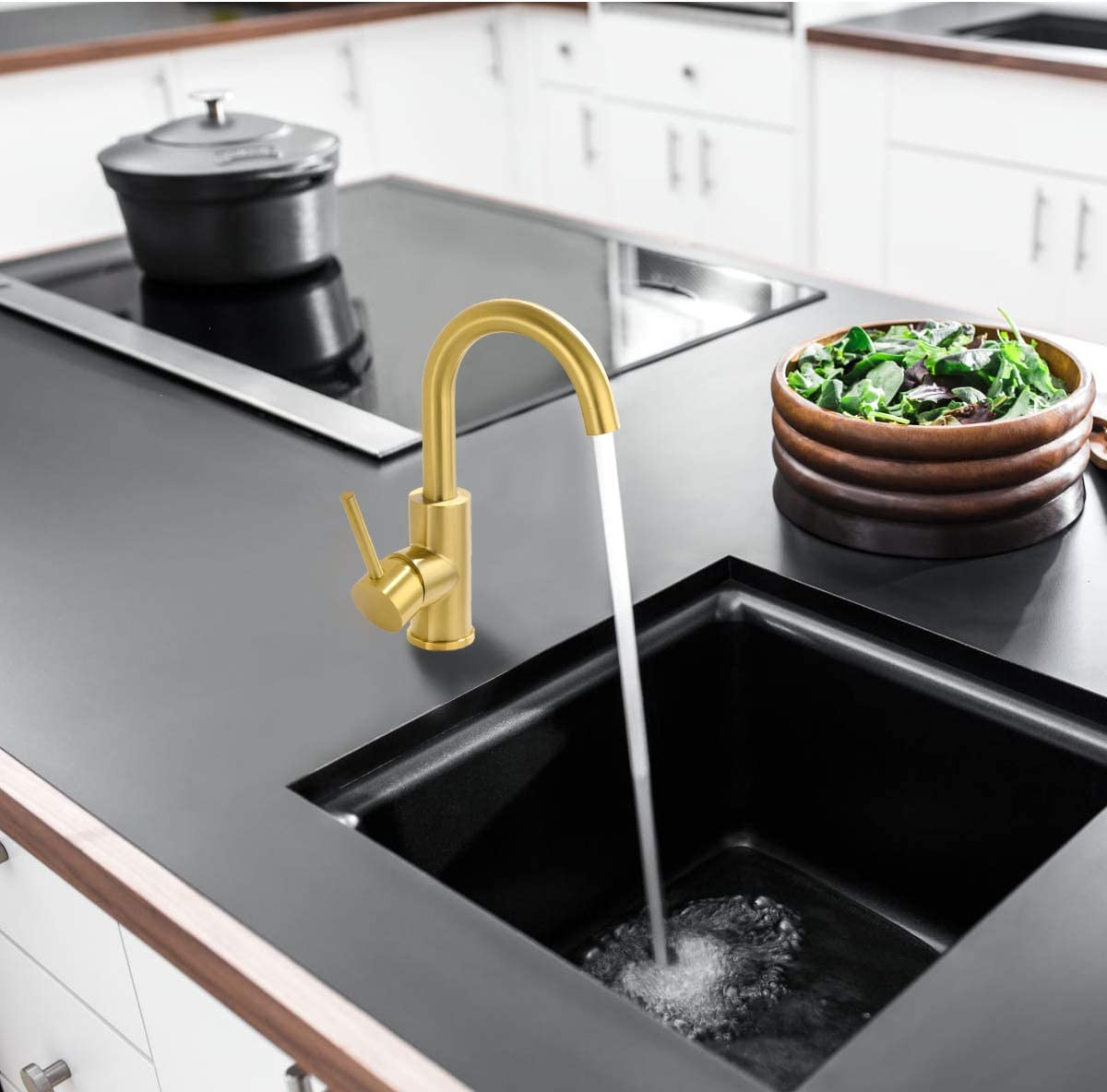 Buy Fonveth Brushed Gold Bar Sink Faucet Stainless Steel Bathroom Sink Faucets Single Handle Small Size Kitchen Sink Faucet Single Hole Kitchen Faucets Brushed Brass Online In Germany B07vsf6r2h