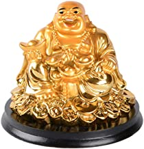 Resin Golden Laughing Buddha Statue Feng Shui Wealth Lucky Gift Decoration B