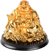 Brass Statu Resin Golden Laughing Buddha Sitting on Coins Figurine Feng Shui Wealth Lucky Gift Decoration (B)