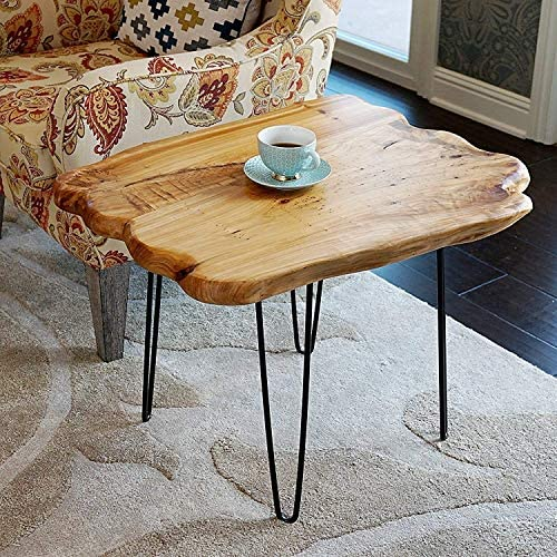 Best WELLAND Natural Edge Coffee Table Small, Hairpin Coffee Table, Natural Wood End Table, Wood Slab Tab