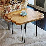 WELLAND Natural Edge Coffee Table Small, Hairpin Coffee Table, Natural Wood End Table, Wood Slab Table 28' L x 20' W x 20.5' T