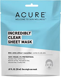 ACURE Incredibly Clear Sheet Mask | 100% Vegan | For Oily to Normal & Acne Prone Skin | Beta Hydroxy Acid (BHA), White Willow & Cucumber - Refreshes & Clarifies | 1 Single Use | 5 Count