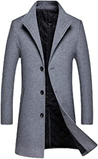Mens Wool Blend Trench Coat Full Length Overcoat Wool Blend Pea Trench Coat