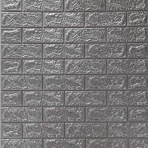 DTC (12 Stück) 77 x 70 cm 3D Selbstklebend Tapete Wasserfest Ziegel Steinoptik Wandtattoo Wandpaneele Wandaufkleber Anti-Kollision Möbelfolie für Schlafzimmer Wohnzimmer Hintergrund TV Decor (Silber)