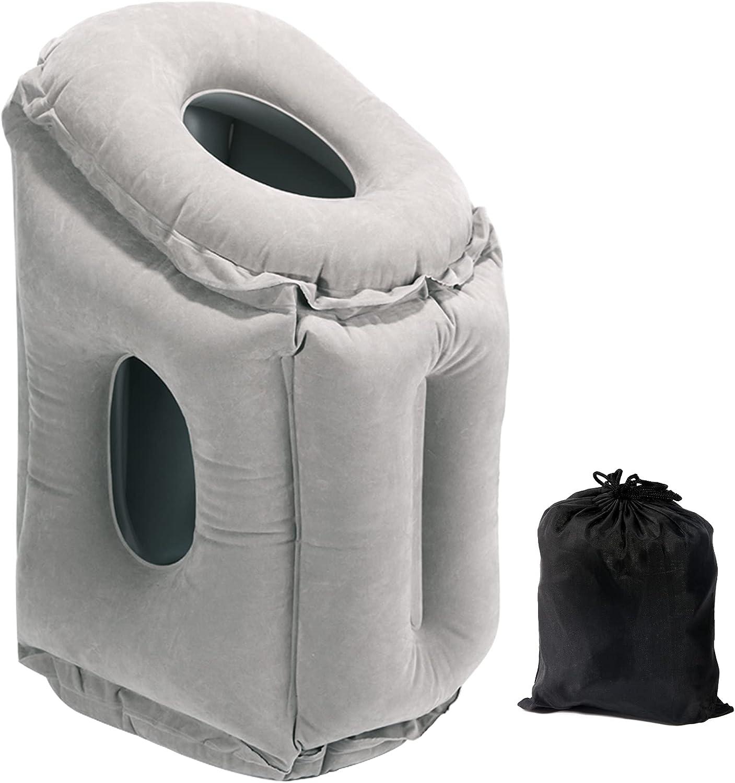 Almohada de viaje hinchable para el cuello, para un cómodo apoyo de la cabeza, cuello, alivio del dolor de hombros, plegable, para viajes, trenes, avión, coche, oficina (gris)