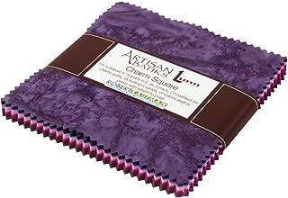 Lunn Studios PRISMA DYES PLUM PERFECT BATIKS Precut 5-inch Charm Pack Cotton Fabric Quilting Squares Assortment Robert Kaufman CHS-268-42