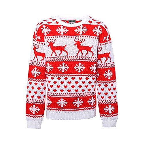 christmasshop Maglione per Maglione Natalizio Nordico da Donna - Taglia XS a X - White/Red - M