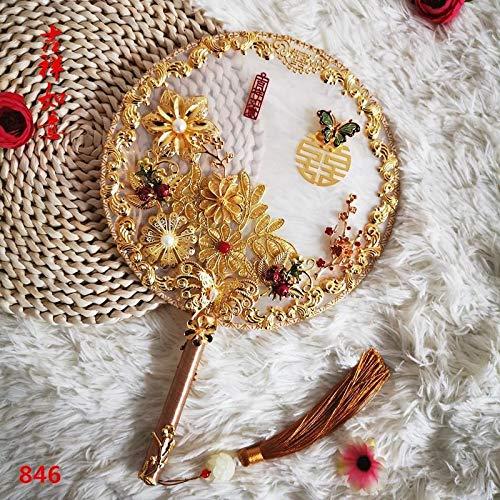 XKMY Abanico de manualidades con flores de mano para fiesta de baile chino, regalos de boda, fragante a mano, para fiesta, tallado, decoración (color : 846)