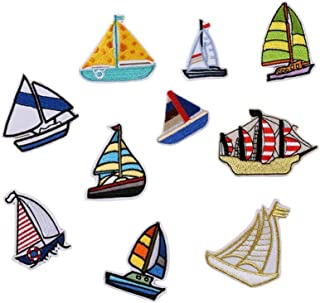 ZEROYOYO 10pcs Sew/Iron-on Patches Embroidered Applique Sailing Boat Pirate Ship Nautical Series Badge Cap Shoes Bag Accessories