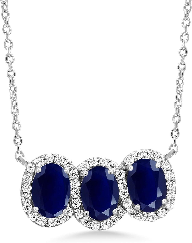 Gem Stone King Under blast sales 925 Brand new Sterling Blue Pendant Silver 3-Stone Sapphire