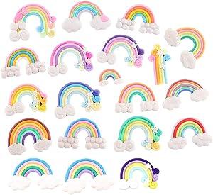 20 Pack Assorted Kawaii Rainbow Polymer Clay Beads Clouds Lollipop Hot Balloon Cabochons Resin Flatback Charms for Miniature Fairy Garden Accessories Scrapbooking Home Decor Supplies (Rainbow)