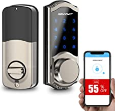[2020 New]Smart Door Lock, SMONET Smart Keypad Deadbolt Lock Bluetooth Keyless, Touchscreen Enable Physical Keys, Auto Loc...