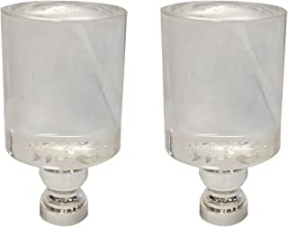Royal Designs Short Cylinder Clear Lamp Finial with Polished Silver Base - Set of 2