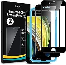 [改進版]ESR iPhone SE ガラスフィルム 第2世代 (2枚入り) iPhone SE/8/7 フィルム 2020 新型 [気泡なし] [最大限保護] [全面カバー] [精確な加工] iPhone SE/8/7 用高品質強化ガラスフィルム – ブラック