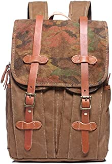 Men's Vintage Canvas Backpack Leather Laptop School Military Outdoor Travel Rucksack Briefcase Satchel Shoulder Bag XFGBTJKYAUu (Color : Yellow, Size : OneSize)