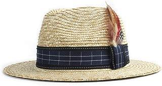 LiWen Zheng Jazz Classic Straw Hat Sun Hat Straw Shirt Men Women Summer Black Plaid Feathers Decorative Sun Hat Unisex Fashion Beach Hat