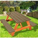 LEWIS FRANKLIN - Cortina de ducha geométrica de lujo para picnic, diseño de zigzag mexicano con borde elástico, 70 x 72 cm, juego de 3 piezas para mesa plegable