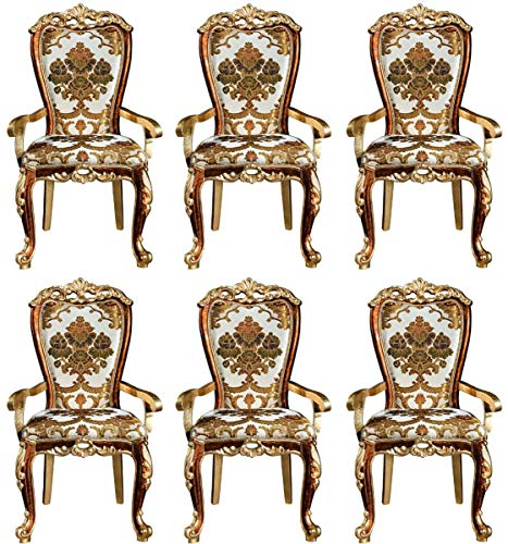 Casa Padrino Barock Esszimmer Stuhl Set mit Armlehnen und elegantem Muster 57 x 54 x H. 115 cm - Edles Küchen Stühle 6er Set im Barockstil - Barock Esszimmer Möbel