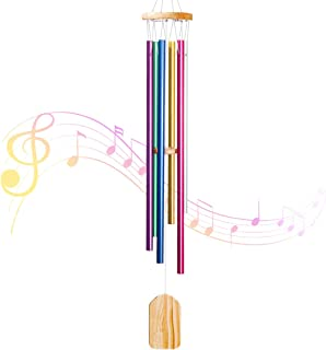 PATHONOR Wind Chimes Outdoor, with 6 Colors Aluminum Tubes Wooden Wind Bell Memorial Wind Chimes, Best Gift Chimes Decor f...