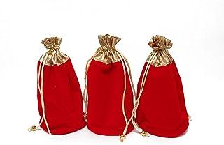 """Red Velvet Drawstring Bags Set of 3 Pouch Wedding Favor Gift Bag Potli Batwa Size :- Height :-9"""" Diameter :- 6"""""""