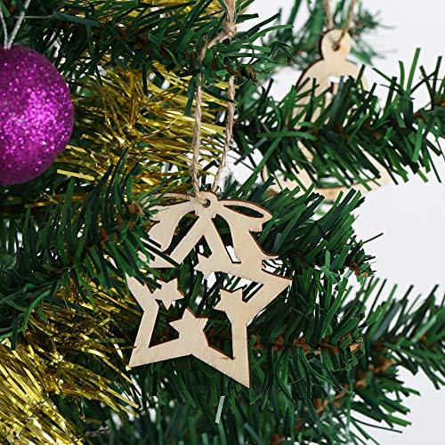 MEJOSER 24 Piezas Adornos /árbol Navidad Colgantes Madera Ornamentos de Navidad /Ángel /Árbol de Navidad Estrellas Adornos Navide/ños Rebanadas Manualidades con Cuerdas y Cuentas Madera