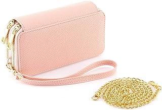 محفظة بمقبض مزدوج من الجلد الصناعي مع سلسلة حزام محفظة للهاتف المحمول للنساء والسيدات والفتيات - هدية لعيد الحب, , زهري - NA