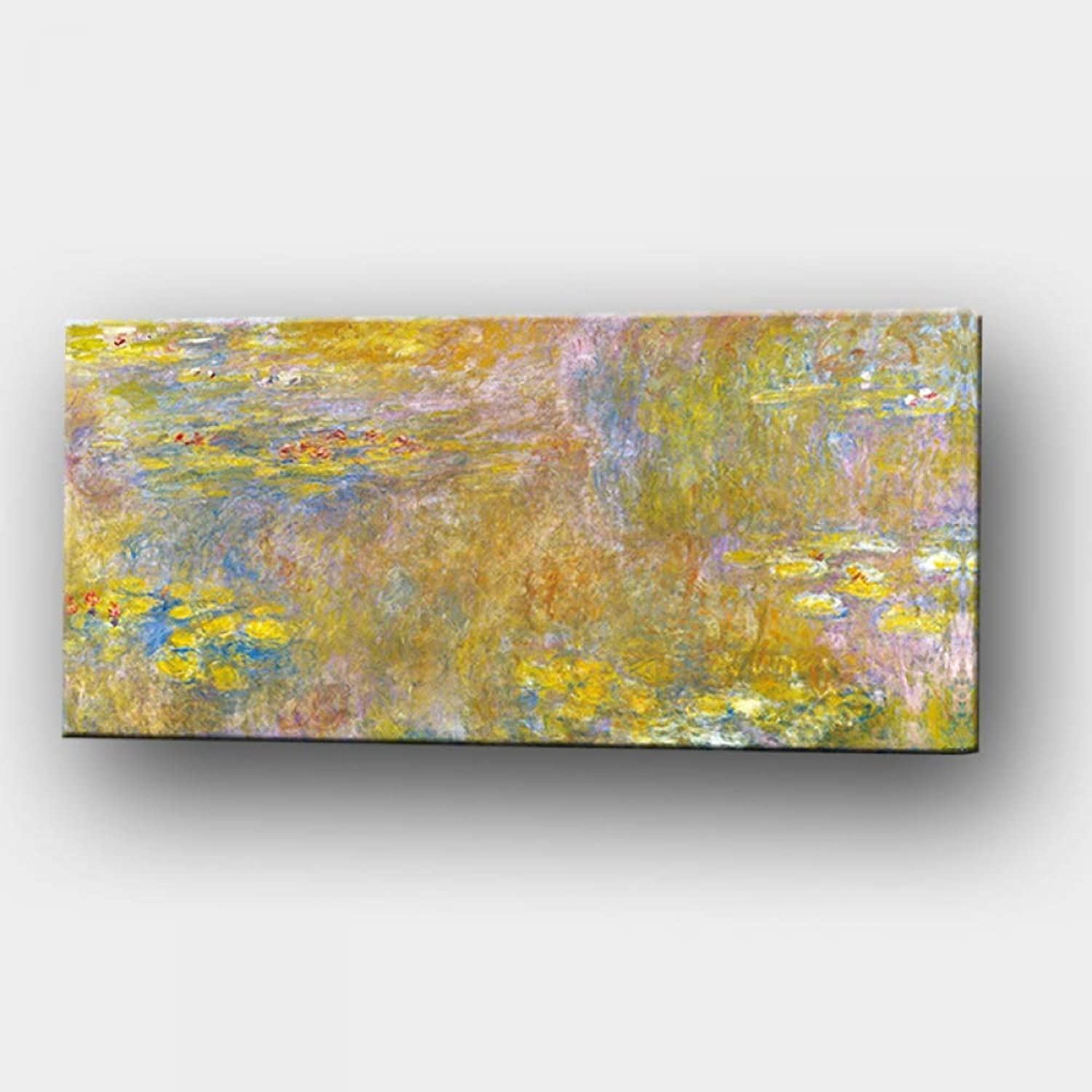 QIAISHI Print Wall Art Canvas Oil Painting gold Lotus Landscape Oil Painting Impressionist Poster Picture for Living Room