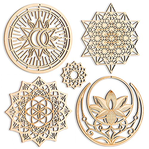 5.31' Sacred Geometry Wall Art 4 PCS Set, (Mandala, Buddha Lotus, 64 Star Tetrahedron, Sun Moon and Stars) Crystal Grid Meditation Chakra Wooden Wall Art Yoga Decor Spiritual Gifts