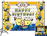 Yellow Cartoon Animation Minions Photo Backdrops for Kids Happy Birthday Party Photography Background Studio Booth Props Banner Cake Table Decoration Supplies 5x3FT