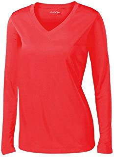 Clothe Co. Ladies Long Sleeve V Neck Moisture Wicking Athletic Shirt