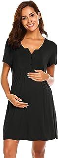 Ekouaer Nursing Dress,Maternity Nightgown Labor Delivery Gown for Hospital Breastfeeding Dress